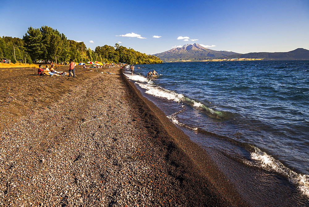 Calbuco Volcano, seen from a beach on Llanquihue Lake, Chilean Lake District, Chile, South America