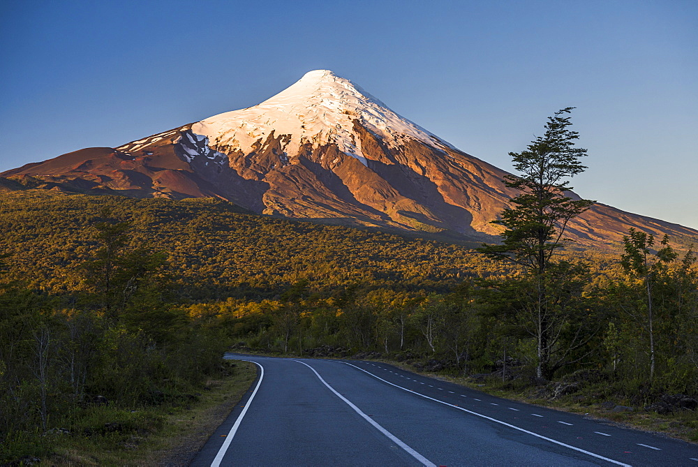 Sunset at Osorno Volcano, Vicente Perez Rosales National Park, Chilean Lake District, Chile, South America