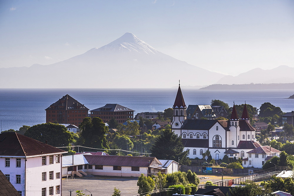 Sacred Heart of Jesus Catholic Church (Iglesia Sagrado Corazon de Jesus) with Llanquihue Lake and Osorno Volcano behind, Puerto Varas, Chile Lake District, Chile, South America