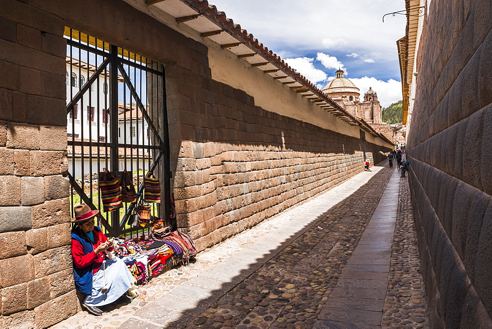 Street vendor selling souvenirs in Cusco, Cusco Region, Peru, South America