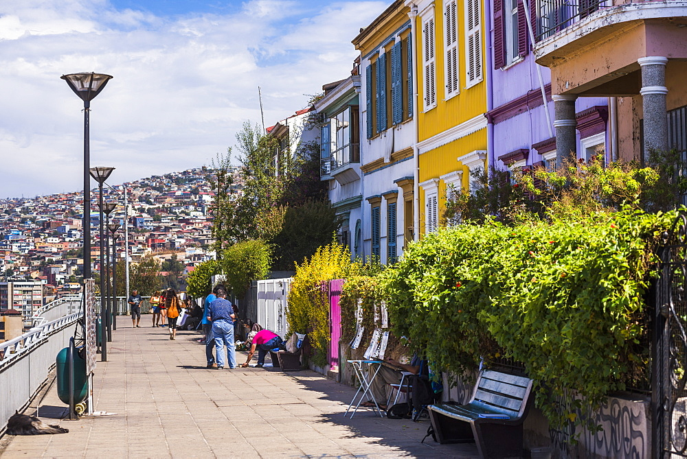 Colourful houses in Valparaiso, Valparaiso Province, Chile, South America