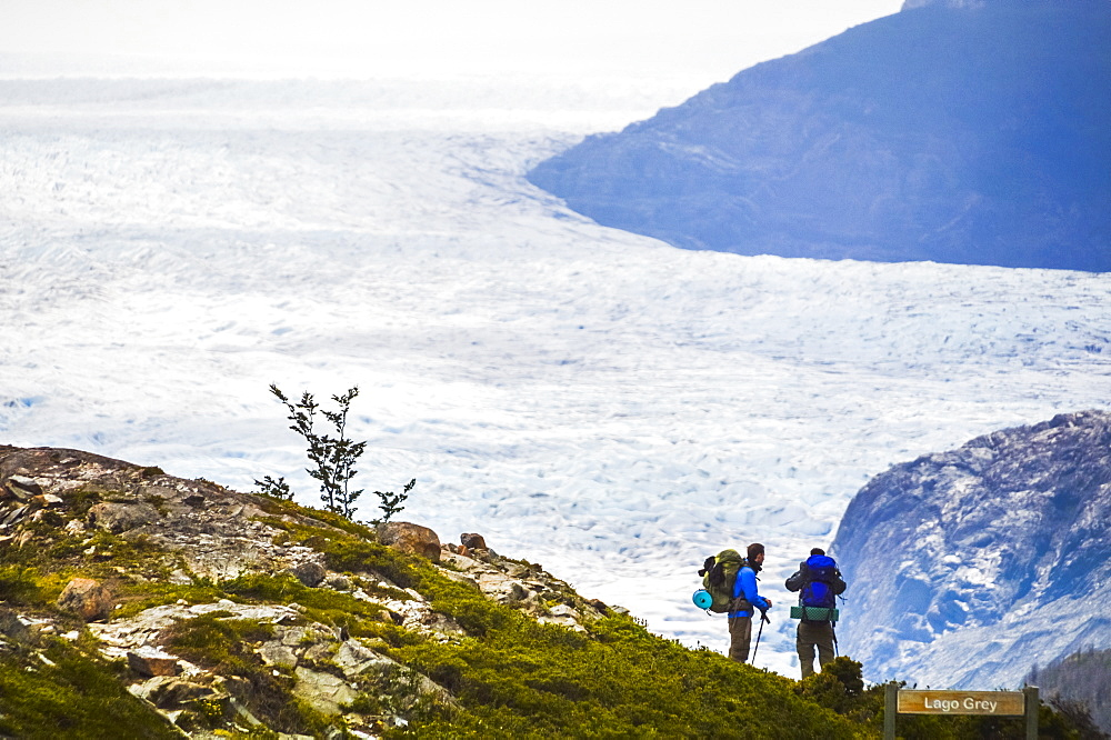 Hiking at Grey Glacier (Glaciar Grey), Torres del Paine National Park, Patagonia, Chile, South America