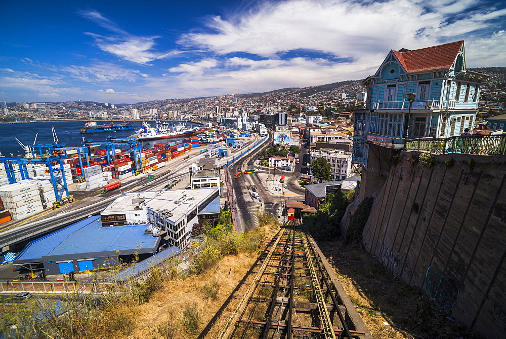 Funicular train 21 de Mayo (May 21st) and Valparaiso Port on Artillery Hill, Valparaiso Province, Chile, South America