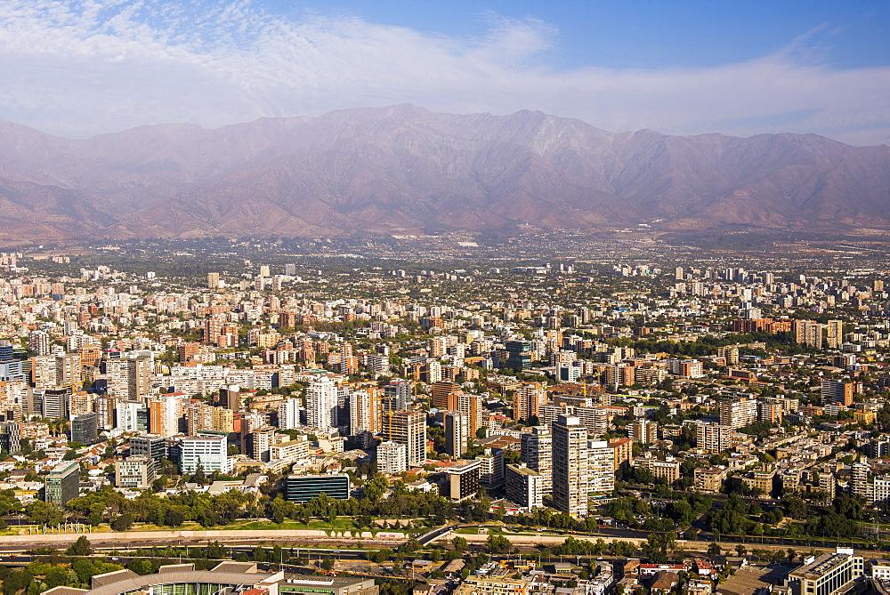 Santiago, seen from San Cristobal Hill (Cerro San Cristobal), Barrio Bellavista (Bellavista Neighborhood), Santiago, Chile, South America