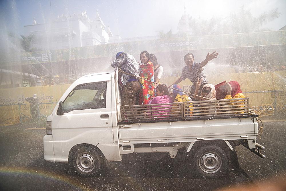 Thingyan Water Festival (Burmese New Year Festival), Yangon (Rangoon), Myanmar (Burma), Asia