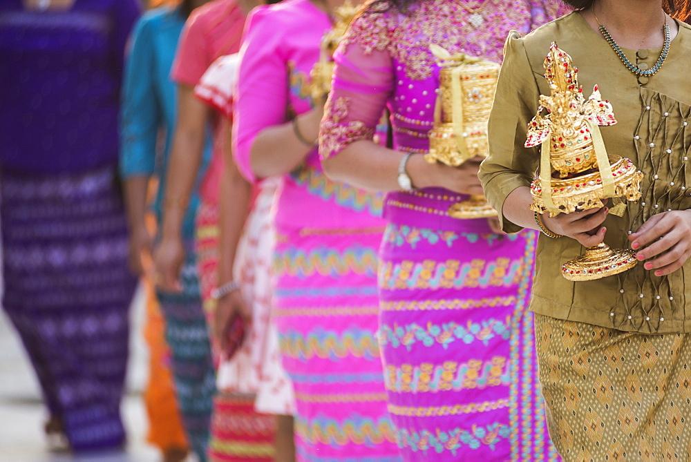 Offerings during a festival at Shwedagon Pagoda (Golden Pagoda), Yangon (Rangoon), Myanmar (Burma), Asia