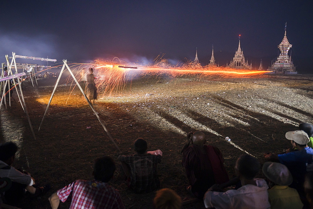 Mrauk U, firing a rocket at a monk's coffin at Dung Bwe Festival, Rakhine State, Myanmar (Burma), Asia