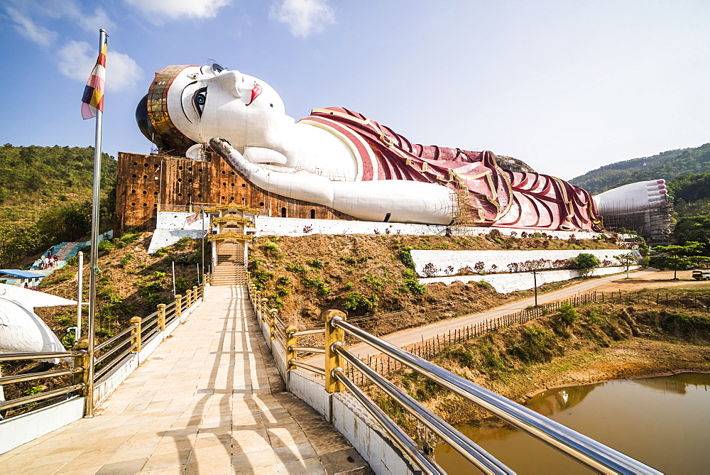 Win Sein Taw Ya 180m Reclining Buddha, the largest Buddha Image in the world, Mudon, Mawlamyine, Mon State, Myanmar (Burma), Asia