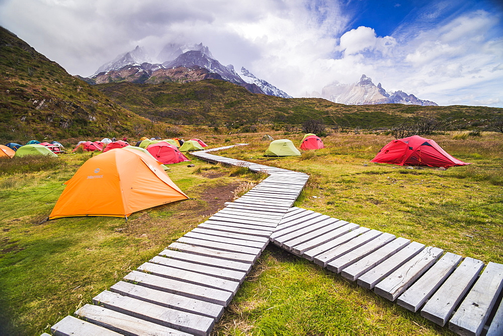 Camping in Torres del Paine National Park, Patagonia, Chile, South America