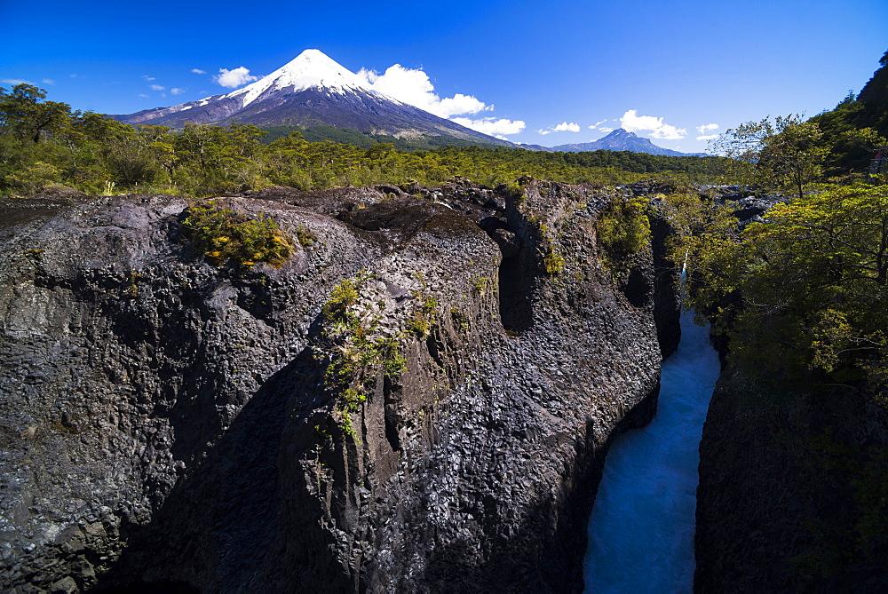 Petrohue Falls and Osorno Volcano, Vicente Perez Rosales National Park, Chilean Lake District, Chile, South America