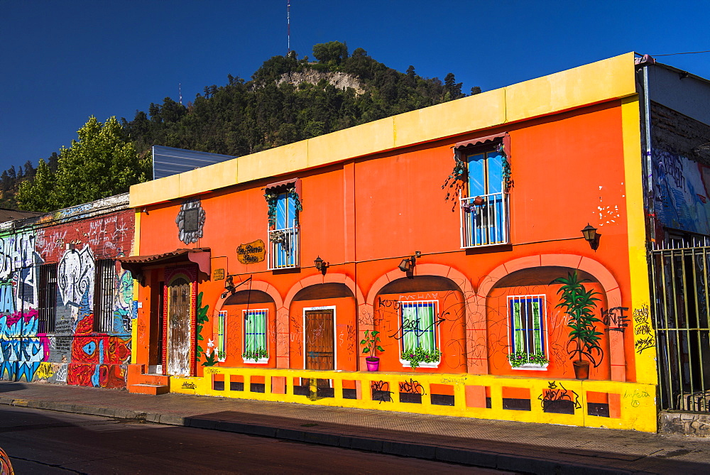 Colourful buildings in Barrio Bellavista (Bellavista Neighborhood), Santiago, Santiago Province, Chile, South America