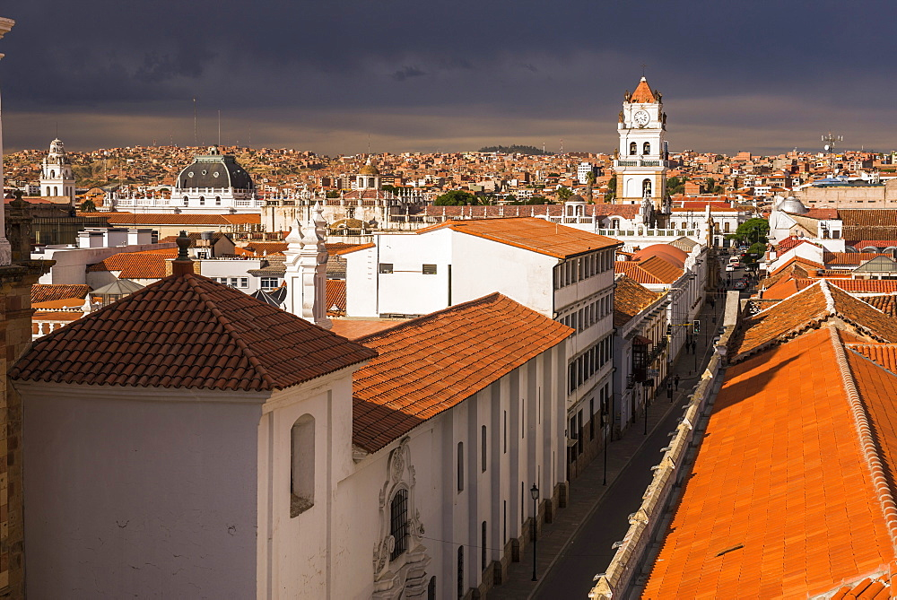 Historic City of Sucre seen from Iglesia Nuestra Senora de La Merced (Church of Our Lady of Mercy), UNESCO World Heritage Site, Bolivia, South America