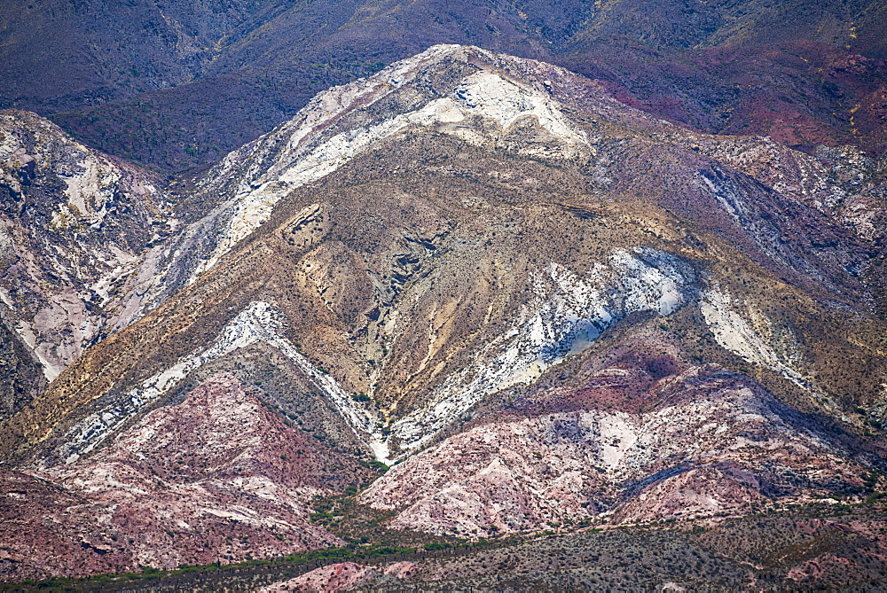 Colourful rocks in Cactus National Park (Parque Nacional Los Cardones), Cachi Valley, Calchaqui Valleys, Salta Province, North Argentina, South America
