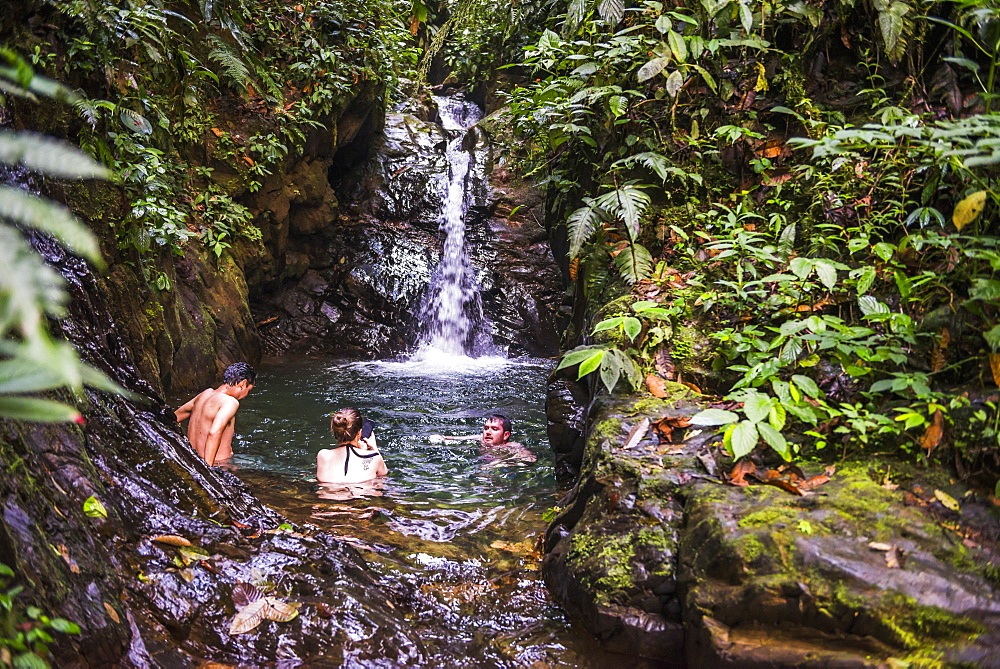 Tourists swimming under Cucharillos Waterfall, Choco Rainforest, Mashpi Cloud Forest, Pichincha Province, Ecuador, South America