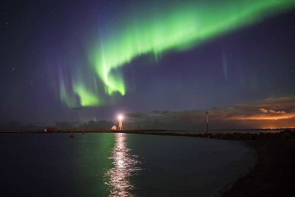 Northern Lights (Aurora Borealis) at Grotta Island Lighthouse, Seltjarnarnes Peninsula, Reykjavik, Iceland, Polar Regions