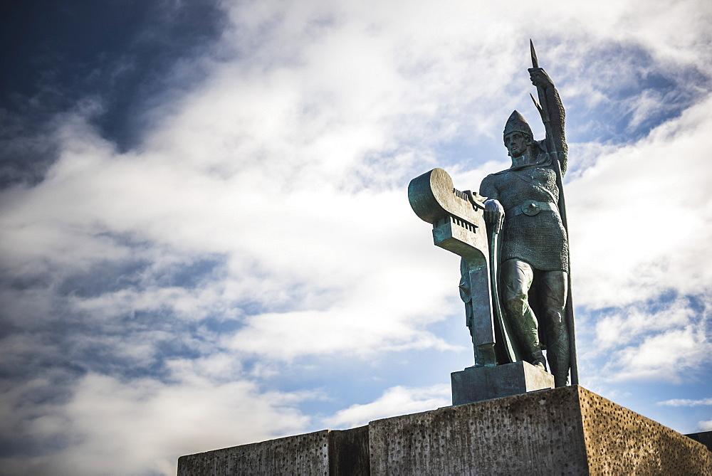 Statue of Ingolfur Arnarson, considered the first settler of Iceland, on Arnarholl Hill in Reykjavik, Iceland, Polar Regions