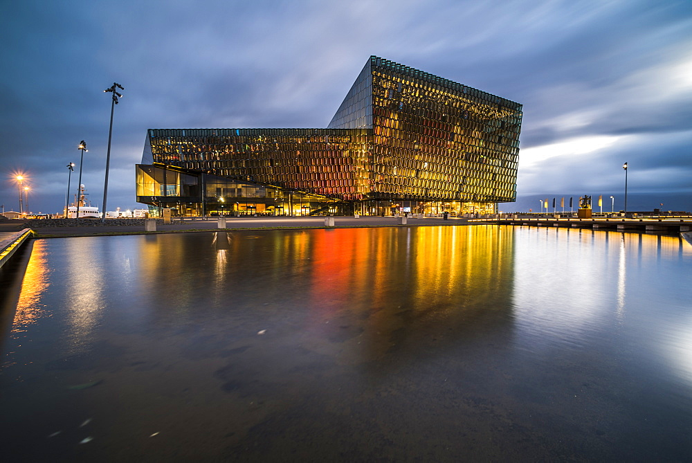 Harpa Concert Hall and Conference Centre at night, Reykjavik, Iceland, Polar Regions