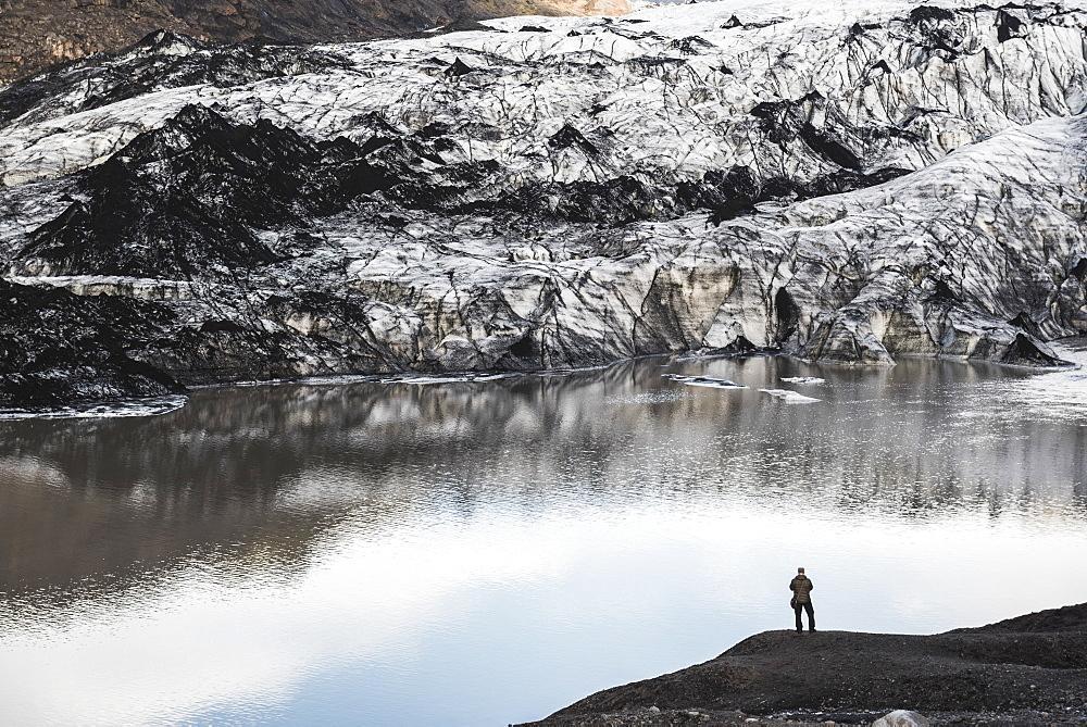Exploring Solheimajokull Glacier, South Iceland (Sudurland), Iceland, Polar Regions