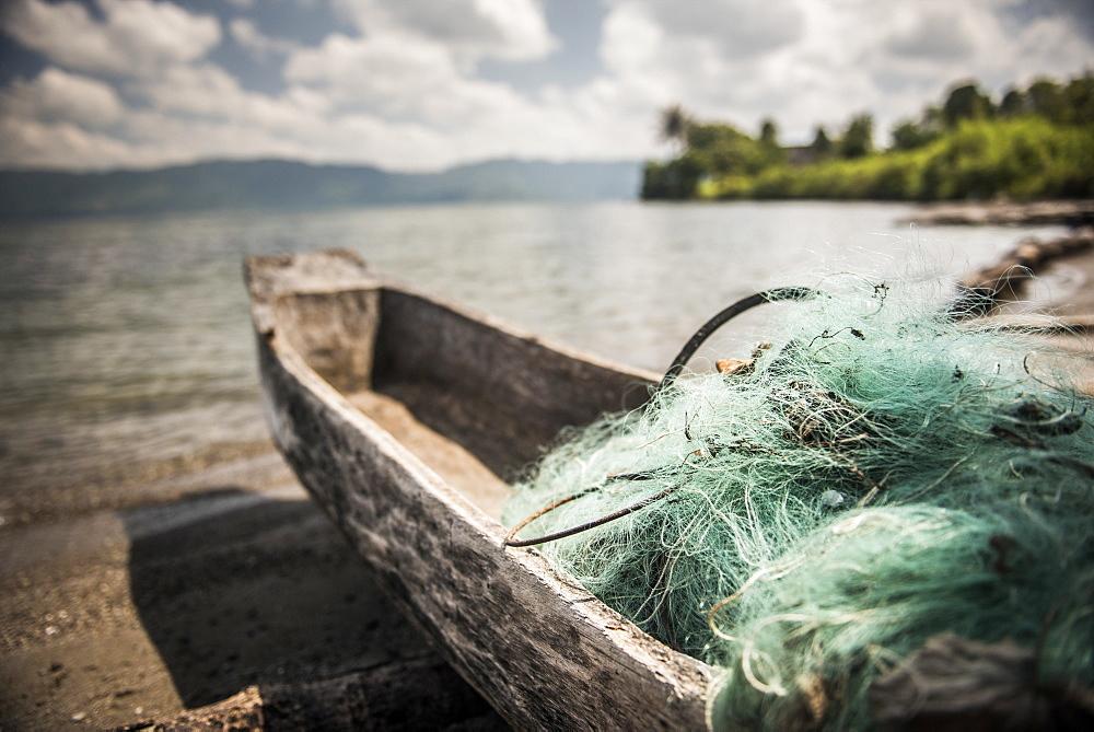 Fishing nets in a fishing boat on Lake Toba (Danau Toba), North Sumatra, Indonesia, Southeast Asia, Asia