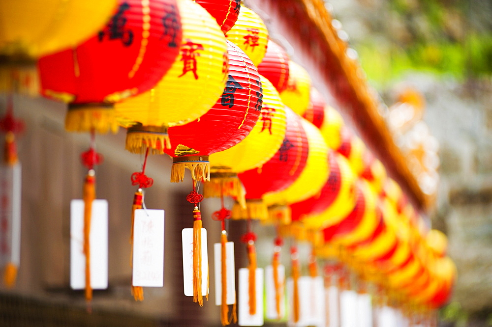 Brightly coloured Chinese lanterns at Kek Lok Si Temple, Penang, Malaysia, Southeast Asia, Asia