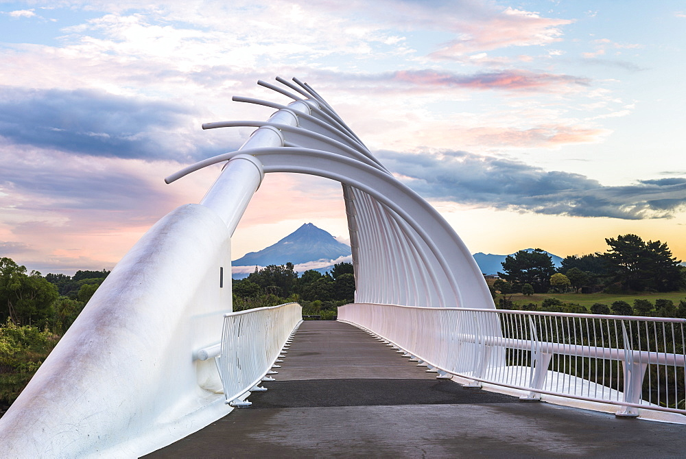 Te Rewa Rewa Bridge at sunset with Mount Taranaki (Mount Egmont) behind, Taranaki Region, North Island, New Zealand, Pacific - 1109-2809