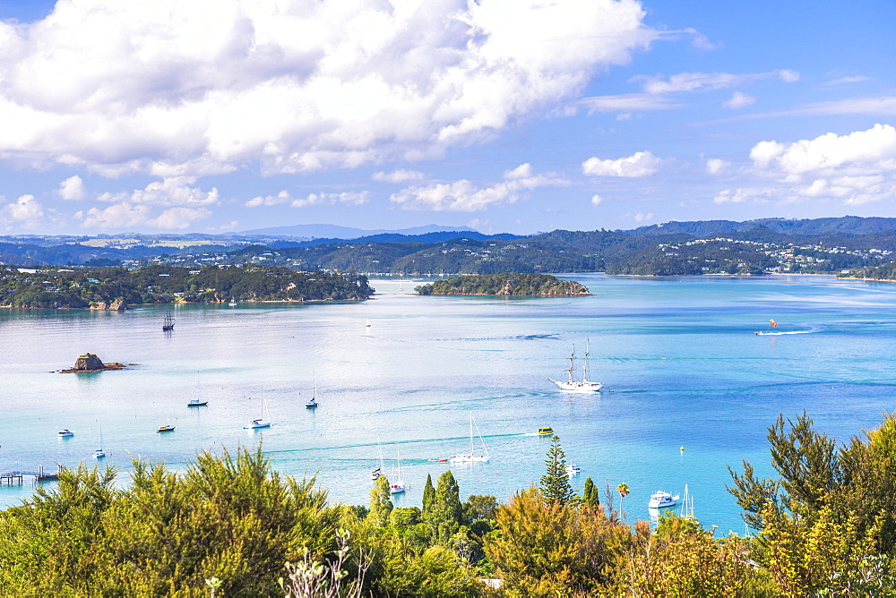 Bay of Islands seen from Flagstaff Hill in Russell, Northland Region, North Island, New Zealand, Pacific