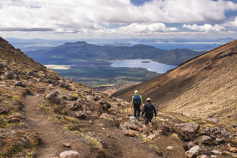 Descending from Tongariro National Park after completing the Tongariro Alpine Crossing, UNESCO World Heritage Site, North Island, New Zealand, Pacific