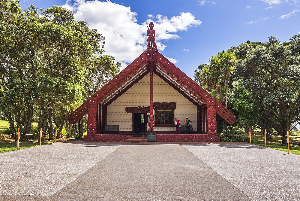 Maori Meeting House, Waitangi Treaty Grounds, Bay of Islands, Northland Region, North Island, New Zealand, Pacific