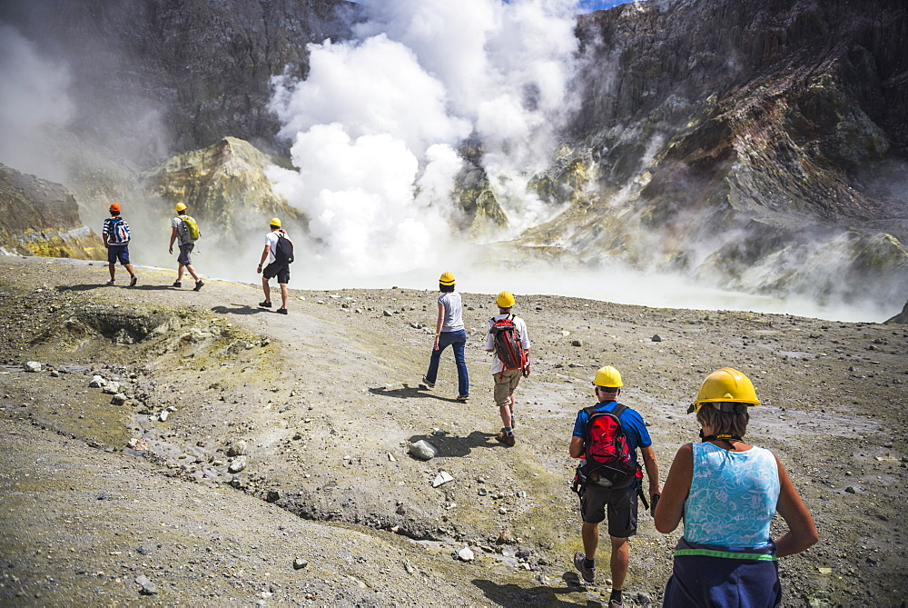 Tourists exploring White Island Volcano, an active volcano in the Bay of Plenty, North Island, New Zealand, Pacific - 1109-2865