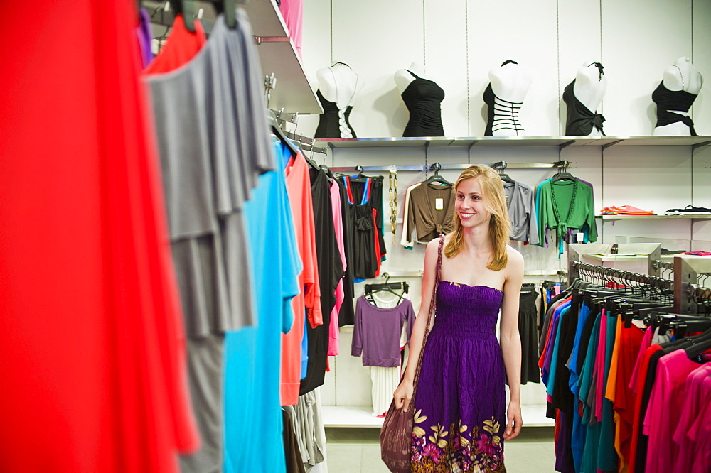 Woman shopping in a shopping centre, Orchard Road, Singapore, Southeast Asia, Asia