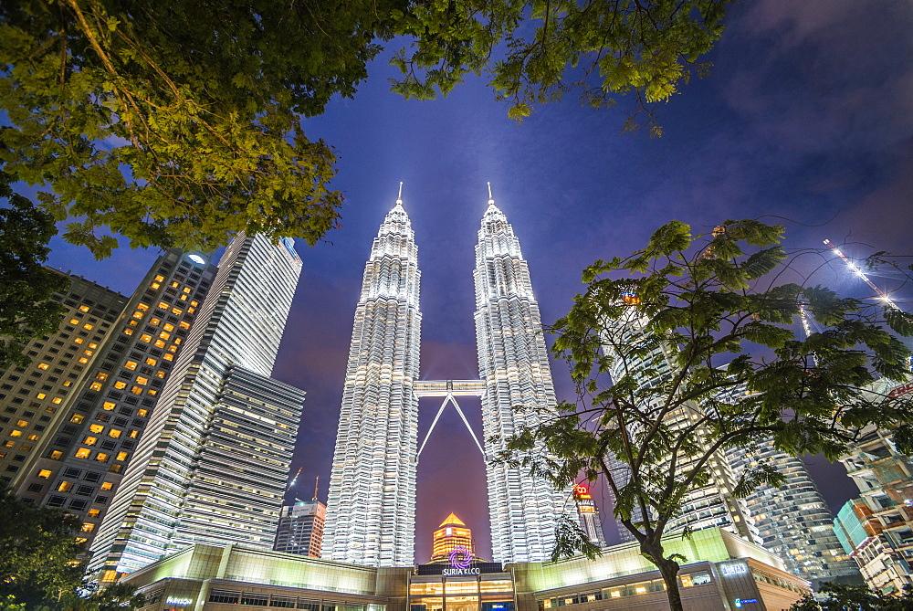 Petronas Twin Towers at night, Kuala Lumpur, Malaysia, Southeast Asia, Asia