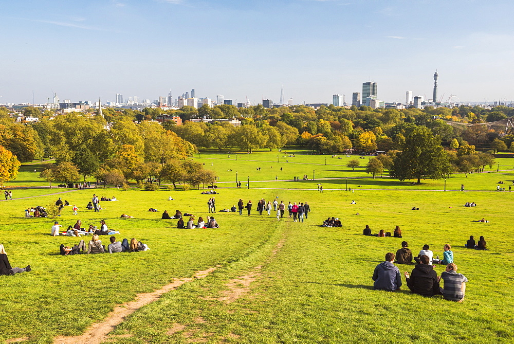London City Skyline in autumn seen from Primrose Hill, Chalk Farm, Borough of Camden, London, England, United Kingdom, Europe