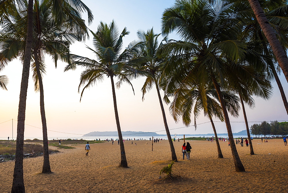 Miramar Beach at sunset, Panjim, Goa, India, Asia