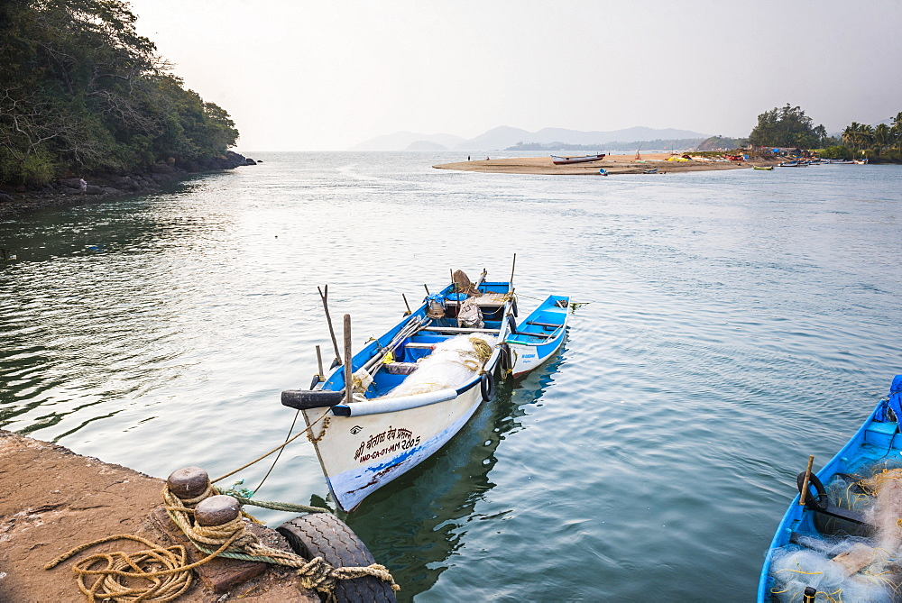Fishing boats in a port at Talpona Beach, South Goa, India, Asia - 1109-3135