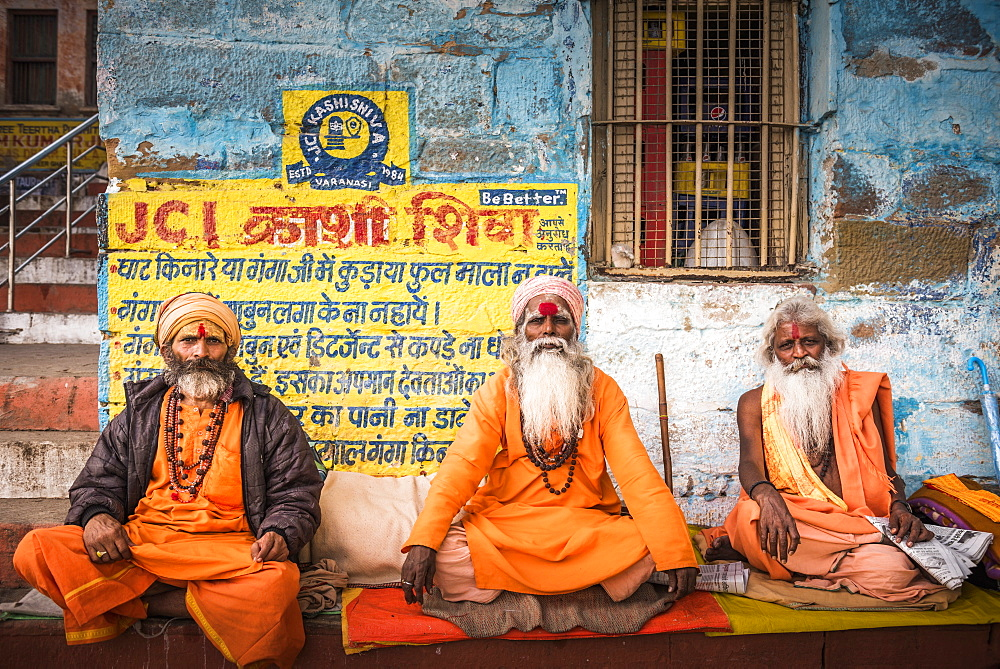 Sadhus (Indian Holy Men) in Varanasi, Uttar Pradesh, India, Asia - 1109-3170