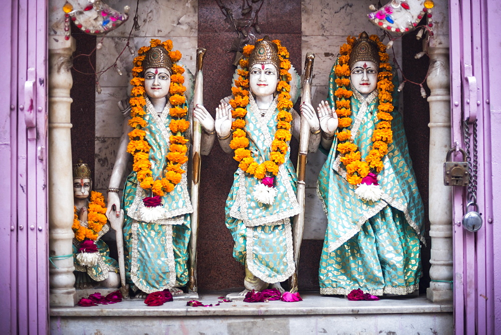 Hindu statues at a temple in Lucknow, Uttar Pradesh, India - 1109-3228