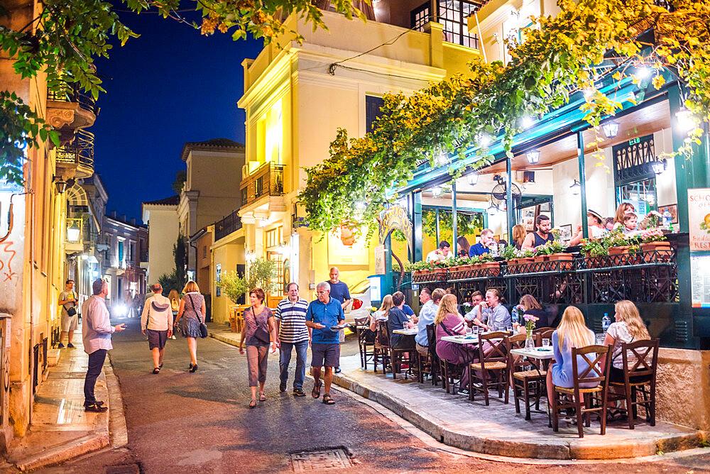 Restaurants at night, Athens, Plaka District, Attica Region, Greece
