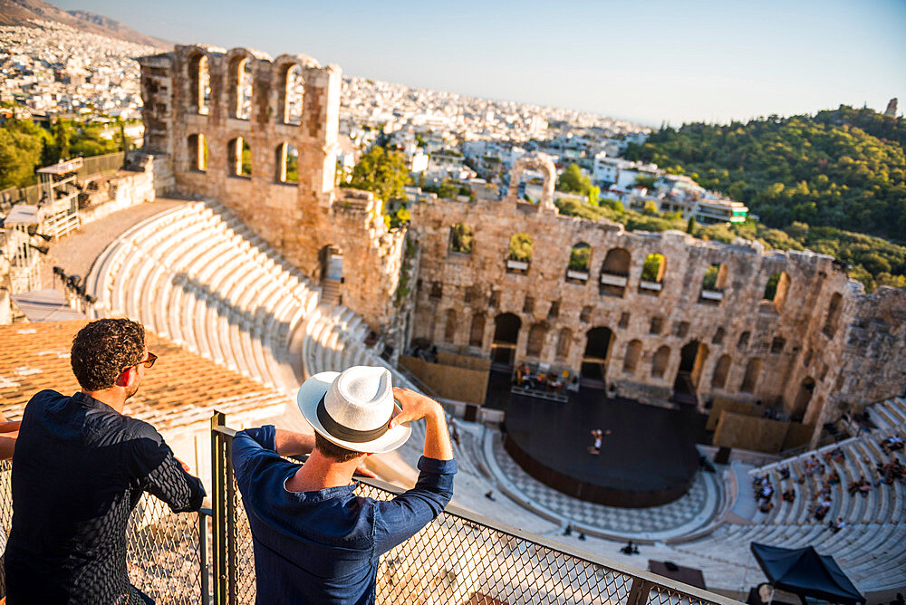 Tourists at Odeon of Herodes Atticus Theatre, by the Acropolis, Athens, Attica Region, Greece