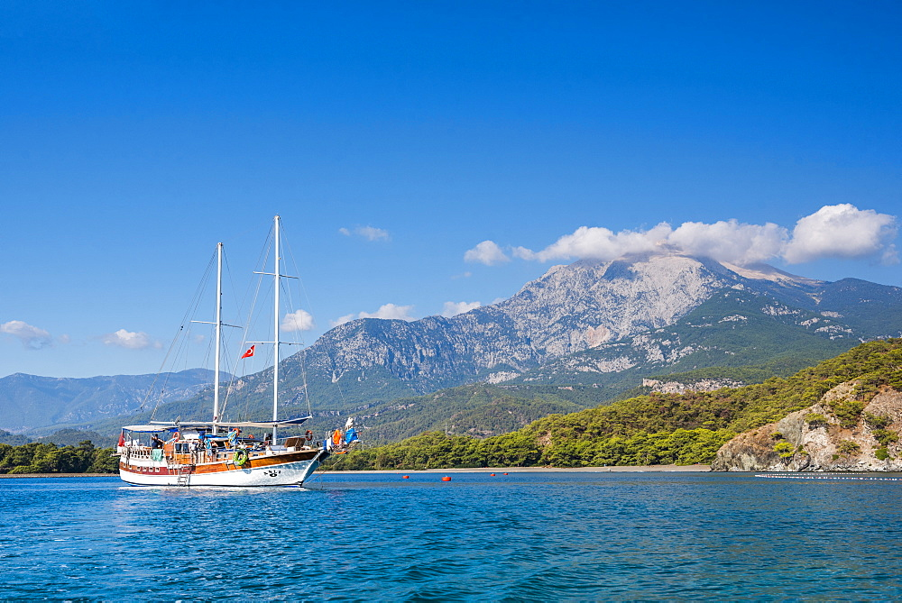 Gulet sailing ship cruise in a bay at Phaselis near Kemer, Antalya Province, Mediterranean Coast, Turkey, Asia Minor, Eurasia