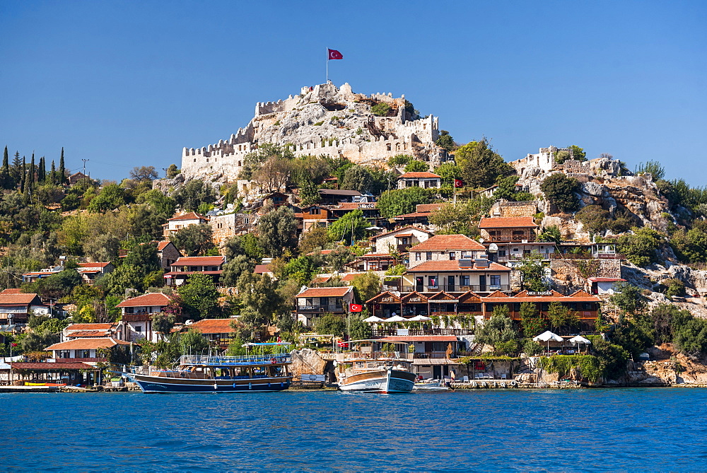 Simena Castle seen from Kekova Bay, Antalya Province, Lycia, Anatolia, Mediterranean Sea, Turkey, Asia Minor, Eurasia