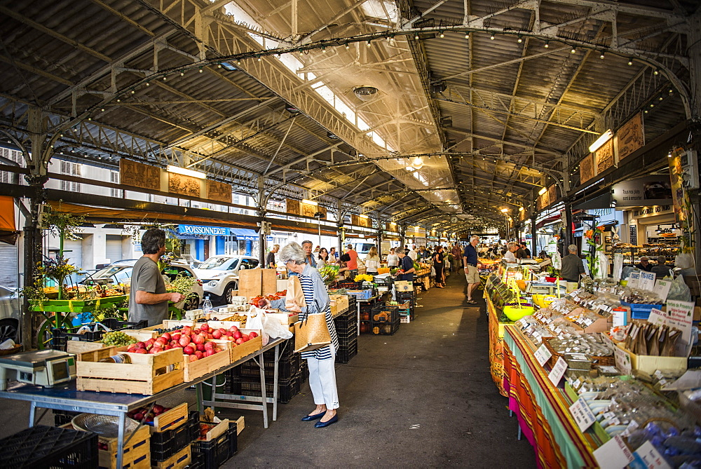 Marche Provencal, the covered market in Antibes, Provence-Alpes-Cote d'Azur, French Riviera, France, Europe