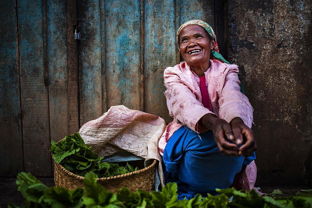 Portrait in a market near Antsirabe, Vakinankaratra Region, Madagascar, Africa