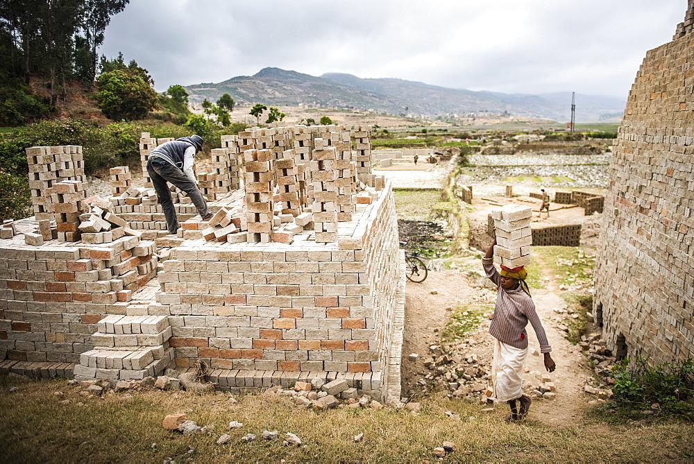 Brick workers near Ranomafana, Haute Matsiatra Region, Madagascar, Africa - 1109-3577