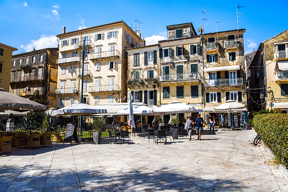 Public square in old town of Corfu, Corfu Island, Ionian Islands, Greece, Europe