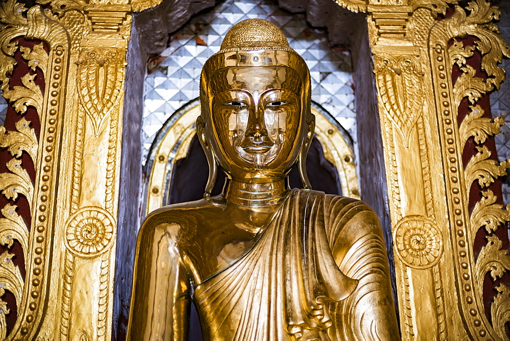 Gold Buddha statue at a Buddhist Temple at Inle Lake, Shan State, Myanmar (Burma) - 1109-3657