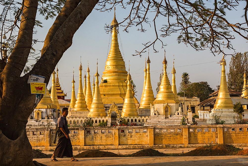 Street scene with Buddhist monk, Pindaya, Shan State, Myanmar (Burma)