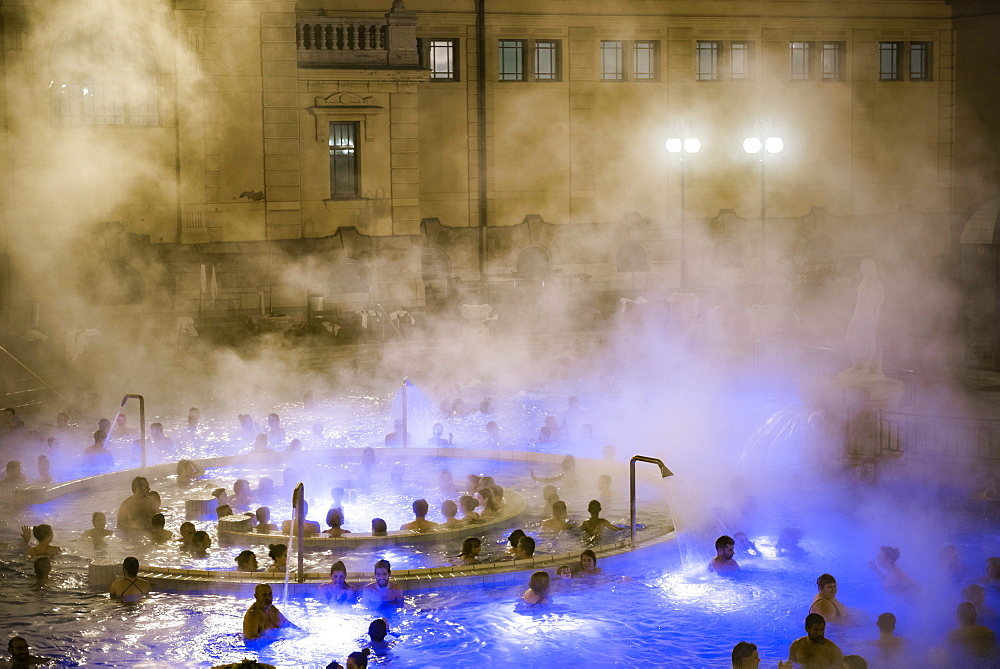 Szechenyi Thermal Baths at night, Budapest, Hungary, Europe