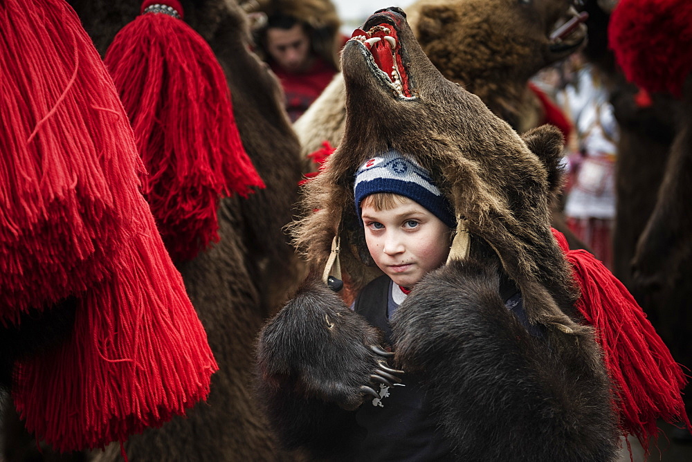 New Year Bear Dancing Festival, Comanesti, Moldova, Romania, Europe