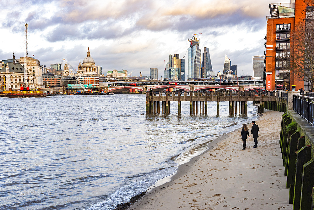South Bank beach, Southwark, London, England, United Kingdom, Europe
