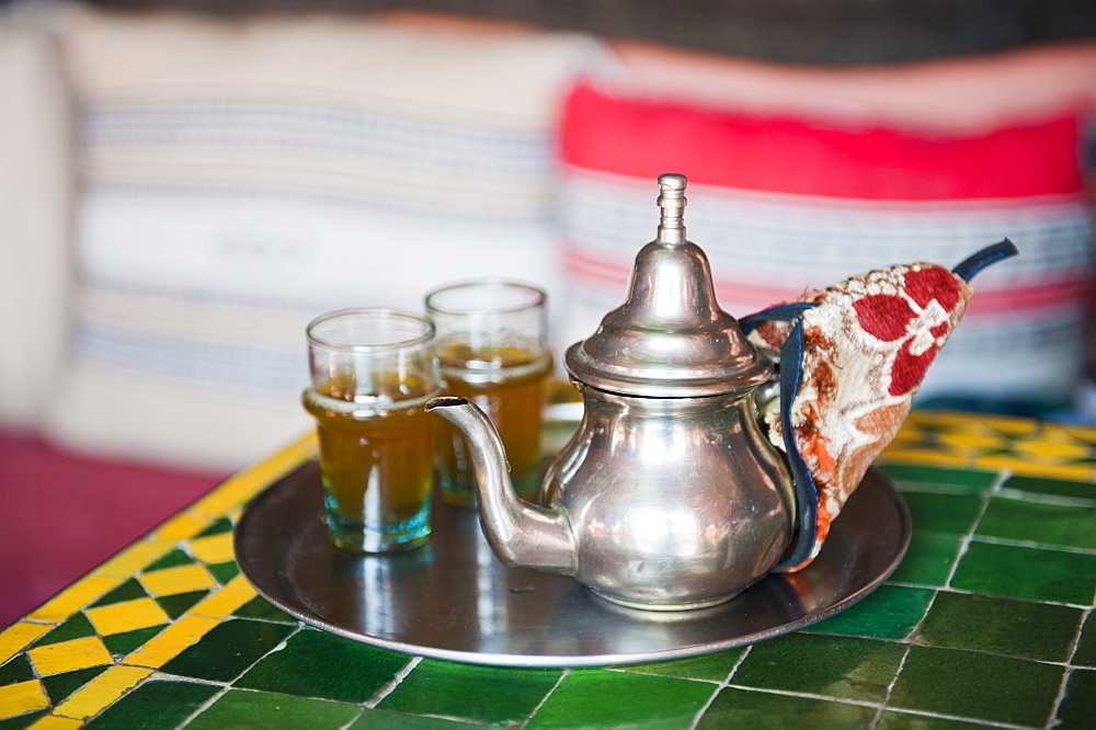 Moroccan mint tea pot at a cafe in Marrakech, Morocco, North Africa, Africa